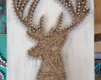 Deer Head - Jute String Art on Wood