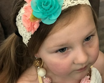 Flower Headband, Baby Girl Headband, Lace Headband, Big Flower Headband, Headbands for Baby, Toddler Headband, Headband for Girls, Lace Baby