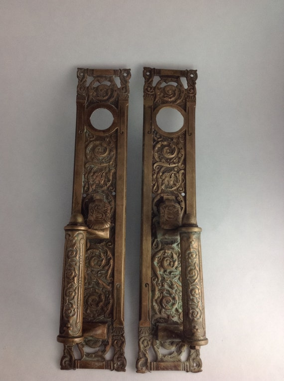 Large Antique Door Double Door Plate Entry Handles with Thumb Push 1870 era  Brass ? Bronze Architectural Salvage Fox Detail from SheWhoPlaysWithGlass  on ... - Large Antique Door Double Door Plate Entry Handles With Thumb Push