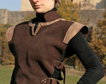 MADE TO ORDER - Suede light leather armor for larp ranger druid shaman rogue hunter celtic brown medieval fantasy renaissance