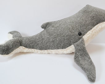 Humpback Whale Dark Gray Heather Furry belly Large *Personalization available!