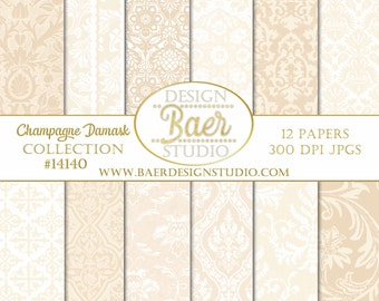 Digital SCRAPBOOK BACKGROUND PAPER, Blush Digital Paper, Hochzeitseinladung, Champagne Damask Digital Paper, Buff Digital Paper, #14140