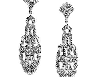Art-Deco Statement Earrings, Statement Bridal Earrings, Modern Bridal Earrings, Dangle Bridal Earrings, Bridal Jewelry, Wedding Jewelry