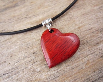 Naturally Red Heart Necklace, Wood Heart Shaped Pendant With Simple Leather Necklace, Hand Carved Wood Red Heart Jewelry