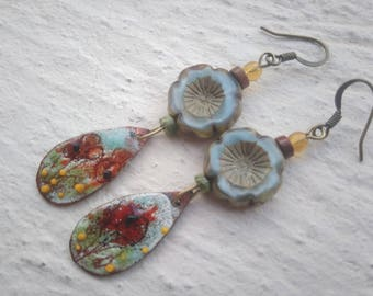 Poppies on enameled copper - small earrings