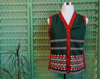 Vintage Knit Vest Ugly Christmas Party Outfit, Mens 60s Fashion Red and Green Vest