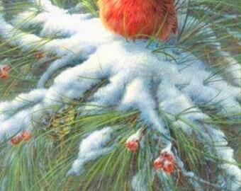 Cardinal Red Bird Pine Tree Graphic Image Art Fabric Block Doodaba