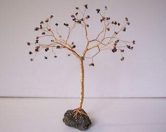 Jewelled Tree Sculpture. Multicoloured Gemstone Tree Ornament. Wire Tree Sculpture. Tourmaline & Pyrite. T61
