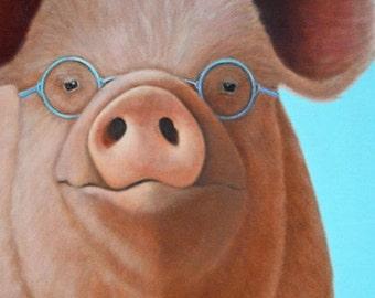 Pig Print - Pig Art - Pig with Glasses - Mr Magoo - Funny Animal Art - Proceeds Benefit Animal Charity