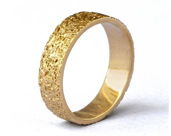 STARDUST 18k Yellow Gold Wedding Band, Textured Wedding Band, Unique Wedding band, Alternative Wedding Band for Men and Women