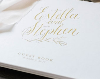 wedding guest book, wedding guestbook, FLAT gold guest book, guest sign in, personalized, custom book - Little Carabao Studio - #PC104