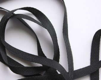 "3/8"" Polyester Twill Tape - Black - 5 yards"