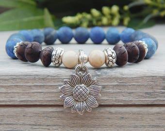 Sunflower Bracelet, Earthy Bracelet, Boho Beaded Bracelet, Nature Jewelry, Sunflower Charm, Blue Bracelet, Flower Bracelet, Flower Jewelry