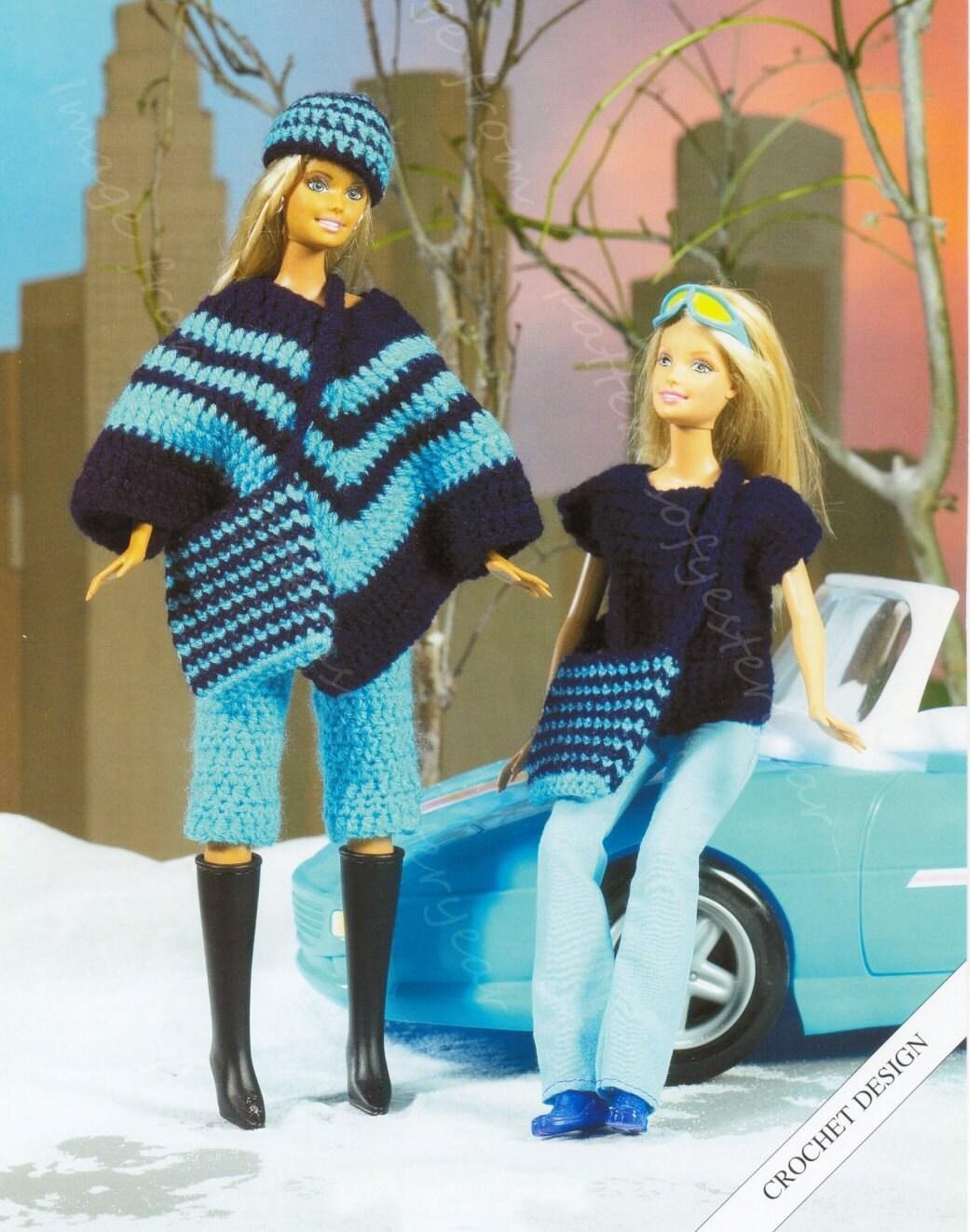 Puppen Kleidung Häkelanleitung Poncho Hose Hut und Tasche