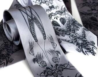 Beer necktie. Hops, barley and wheat tie. Men's SILK necktie. Dark gray screen print. Men's beer tie.