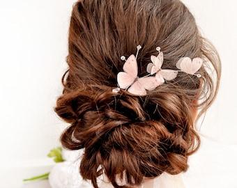 blush pink hair accessories Blush butterfly pink hair jewelry Bridal hair pins Wedding pink headpiece butterfly hair vine wedding hair pin