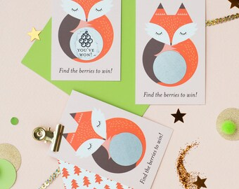 24 Woodland Fox Scratch Off Cards - Baby Shower Game