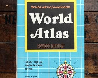 Scholastic/Hammond World Atlas PB ~ 1969 Revised Edition ~ Vintage ~ Like New
