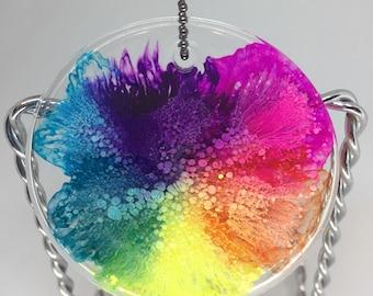 Colorful Rainbow Burst Resin Pendant Necklace