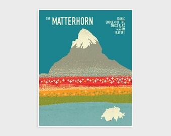 ZERMATT MATTERHORN, Switzerland Mountain Print, Adventure Poster, Hiking, Trekking, Mountaneering, Wall Art Print, Wall Decor