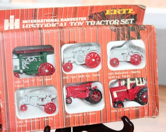 Ertl International Harvester Toy Tractor Set -- Six Miniature Tractors -- Made in Hong Kong -- Deering, Tractor, McCormick, Collectible