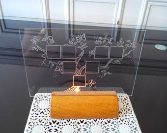 Frame under glass 10 x 15 cm free customization - engraving of a family tree 3 generations