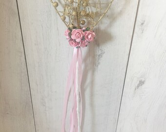 Flower girl wand, birthday wand, gold wand