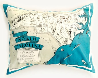 North Carolina State Pillow Cover with Insert