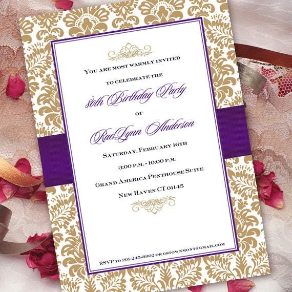 birthday party invitations, 80th birthday party invitations, retirement celebration, gold birthday party invitations, IN179