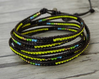 Mixed beads Tiny leather wrap bracelet bead wrap bracelet boho seed bead bracelet leather bracelet yoga bead bracelet jewelry SL-0425