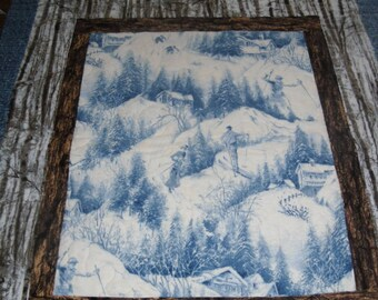 flannel quilt featuring skiers, perfect  for mountain cabin
