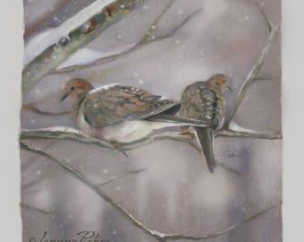 """Dove Art - Bird Art - """"Winter Doves"""" by Leanne Peters"""