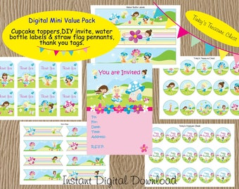 Digital Fairy Party Party Decoration Value Pack. Invitation, Cupcake Topper, Water Bottle Labels, Straw Flag, Thank You Tags. Fairies.