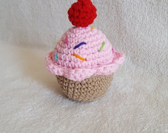 Cupcake Pincushion, Crochet Toys, Pink Crochet Cupcake, Crochet Play Food, Plush Toy, Kids Toy, Stuffed Cupcake, Amigurumi Cupcake