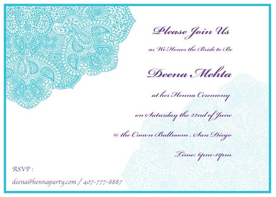 Elegant hennamehendi party invitation card sangeet card stopboris Image collections