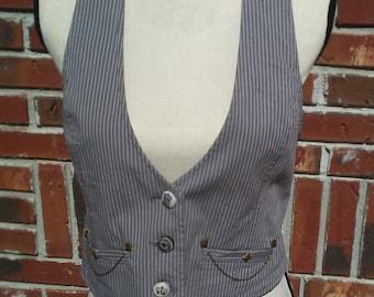 Steampunk vest, lace backed vest, lace vest, upcycled vest, steampunk clothing, upcycled clothing, steampunk accessories