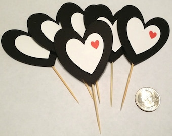 Love / Heart / Just Because Cupcake Toppers - 12 count