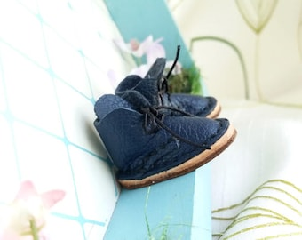 Lace Up Shoes Mini Leather Navy Blue Laced Boots For Neo Blythe Doll Hand Made By MizuSGarden