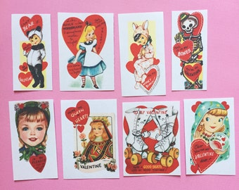 Valentines Stickers - Set of 16 - Handmade Stickers, Vintage Style, Vintage Valentines, Journal, Planner Stickers, Cute Valentines, Kitsch
