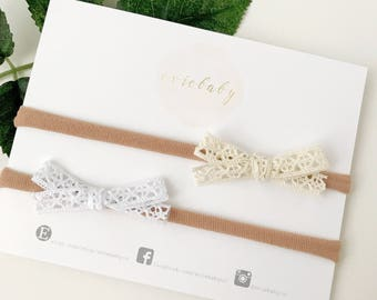 Newborn Headbands, Baby Headband, Baby Girl headband, Lace Bow, Headbands, Hair Accessories, Baby Bows, Hair Bows, Baby Girl Gift, Baby gift