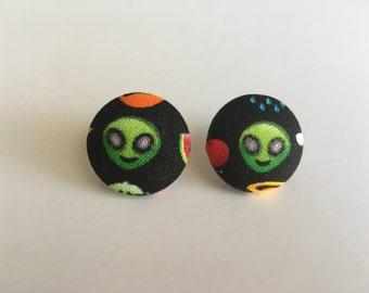 Alien Button Earrings