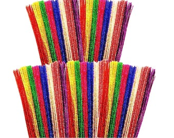 Tinsel Pipe Cleaners 8 Assorted Colours 30cm Packs of 50 100 200 250