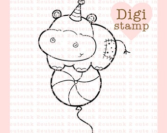 Hippo Balloon Digital Stamps for Card Making, Paper Crafts, Scrapbooking, Stickers, Coloring Pages
