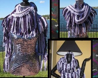 Purple Fringe Scarf,Tee Shirt Fabric Scarf, Striped,Crochet,Handmade,Soft,One of a Kind,Unique,Custom Made