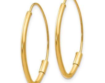 14K Yellow Gold 25mm x 16mm x 1.5mm Diamond Shaped Modern Minimalist Classic Wire Hoop Earrings GU0892
