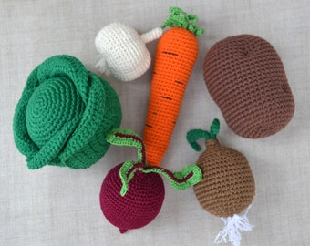 Vegetables set of 6 Baby teether Sensory toys Pretend play Play food Plush vegetables Kitchen decoration Crochet vegetables Crochet food set