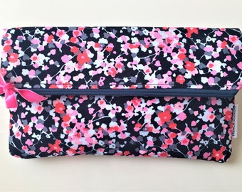 Large zipped pouch handmade with beautiful high-end floral fabric