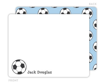 Soccer Note Cards - Personalized Flat Note Cards - Soccer Notecards - Kids Stationery - Kids Thank You Cards - Sports Stationery