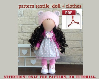 Textile doll pattern, PDF Digital Pattern, Sewing Patterns, pattern dolls, DIY, sewing, Pattern Home Decoration doll, Pattern toys