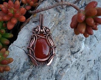 """Carnelian pendant, wire wrapped pendant, wire wrapped jewelry, copper wrapped jewelry, red pendant, Victorian pendant """"Cicada In Love"""""""